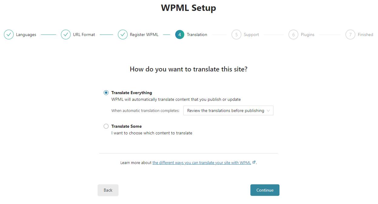 בחירת מצב תרגום בעת הגדרת WPML בפעם הראשונה