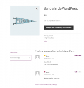 Displaying translated product reviews in all languages