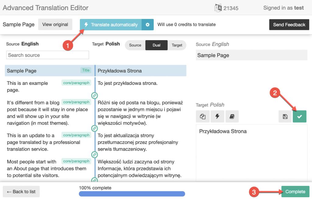 Automatische Übersetzung von Inhalten im erweiterten Übersetzungs-Editor